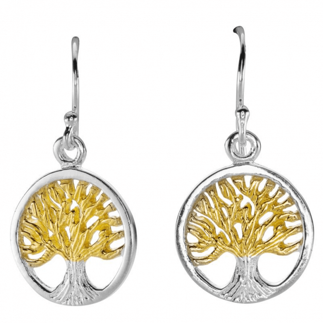 Silver Tree of Life Earrings with 18ct Gold Plate