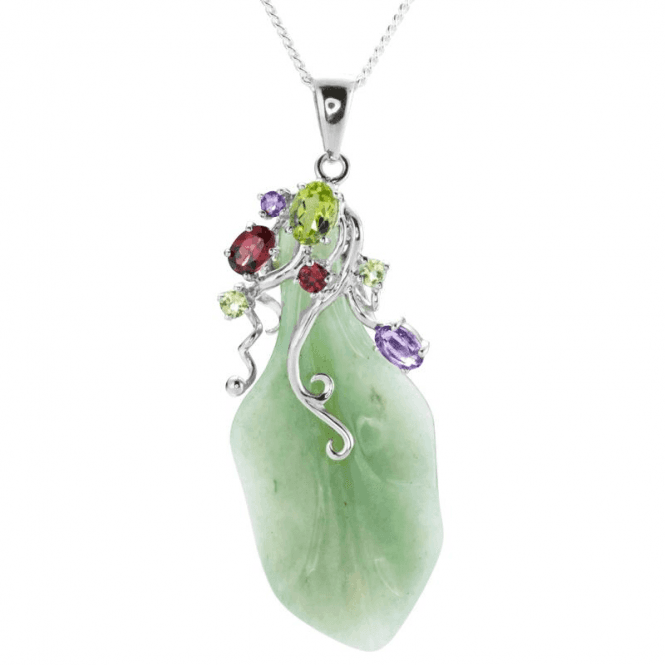 Ladies Shipton and Co Silver and Aventurine Leaf Pendant including a 16 Silver Chain TTL267AVMU