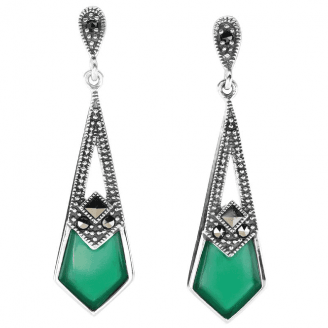 Art Deco Kites in Green Agate & Marcasite