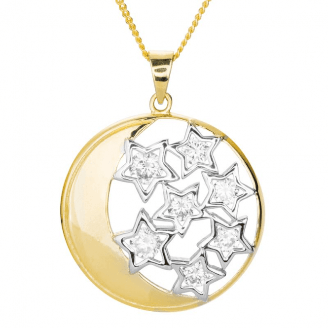 Shipton and Co Ladies Shipton and Co 9ct Yellow Gold and Cubic Zirconia Moon and Stars Pendant including a 16 9ct Chain TAR613CZ