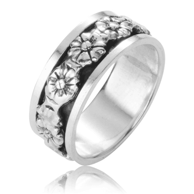 Spinner Ring with a Turning Circlet of Flowers