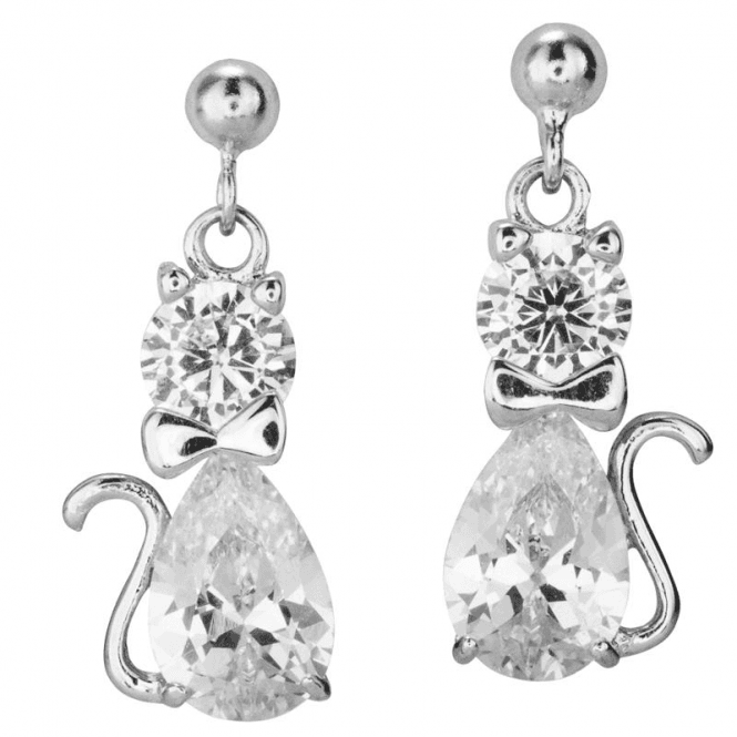 Ladies Shipton and Co Silver and Cubic Zirconia Cat Earrings TAO004CZ