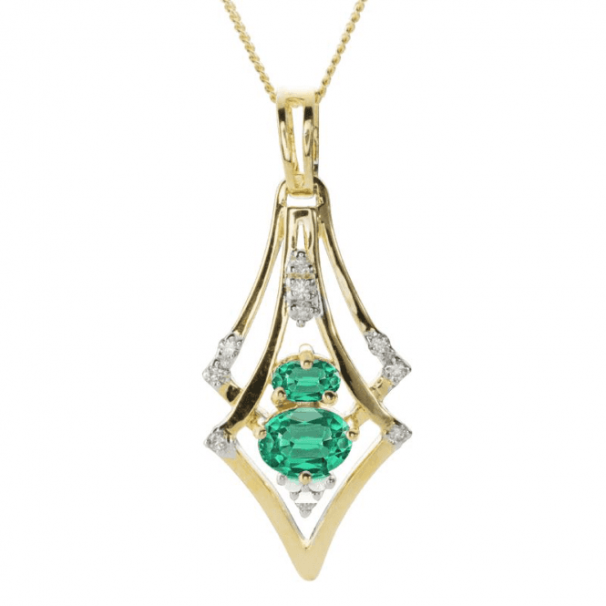 Shipton and Co Ladies Shipton and Co 9ct Yellow Gold Diamond and Emerald Pendant including a 16 9ct Chain PYD128EMD