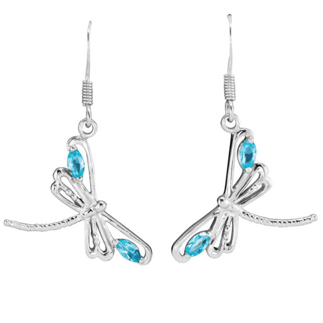 Shipton and Co Ladies Shipton and Co Silver and Sky Blue Topaz Dragonfly Earrings EQA357BT