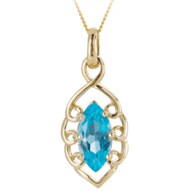 Shipton and Co Ladies Shipton and Co 9ct Yellow Gold and 3ct Swiss Blue Topaz Pendant including a 16 9ct Chain PYG057BT
