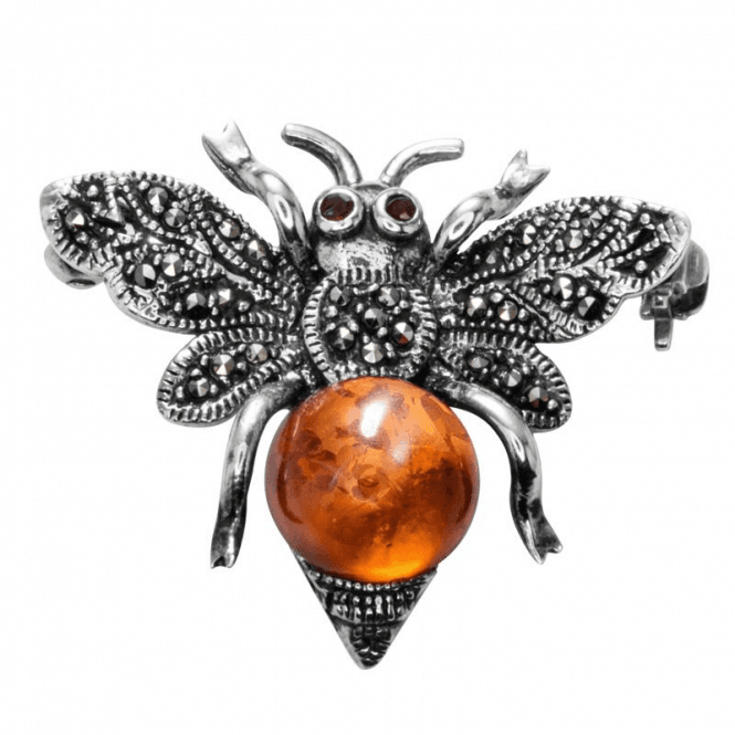 Shipton and Co Ladies Shipton and Co Silver Amber and Marcasite Brooch TFE159ABMM