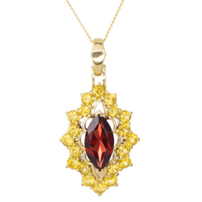 Marquise Garnet in a Yellow Sapphire Cluster