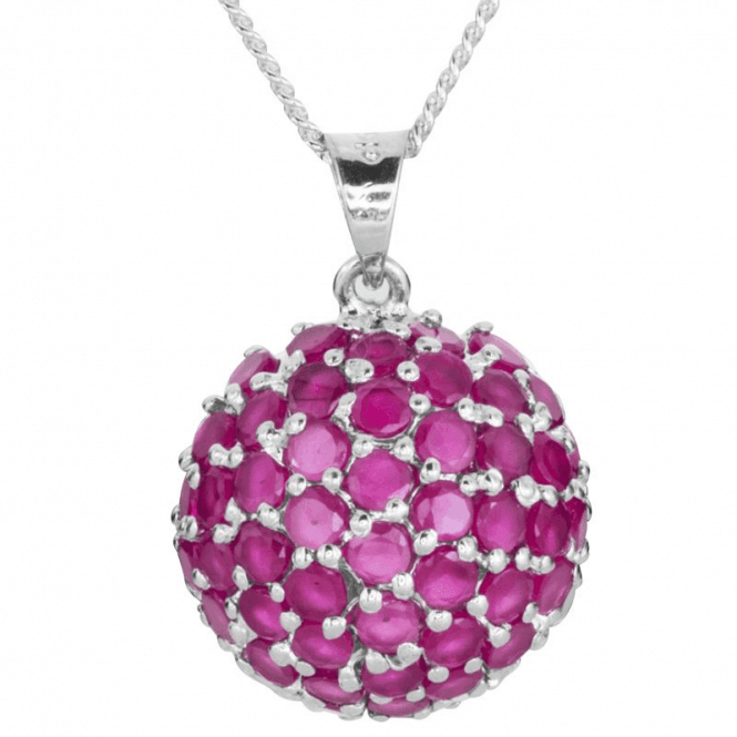 Ladies Shipton and Co Silver and 6.5ct Ruby Pendant including a 16 Silver Chain TFE124RU