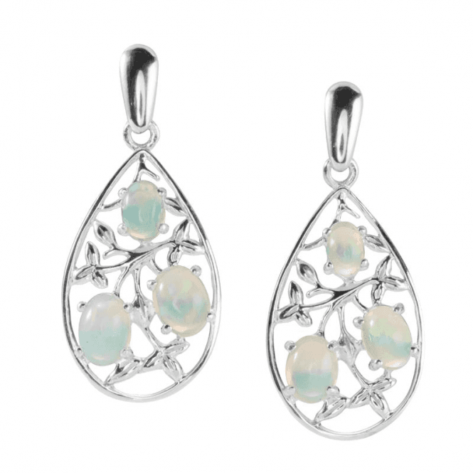Shimmering Opal Buds Amidst Silver Leaves Earrings