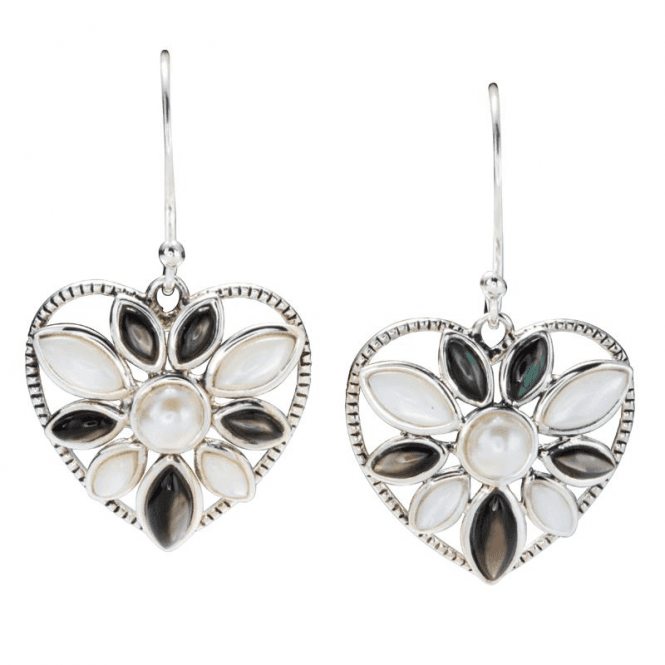 Shipton and Co Ladies Shipton and Co Silver and Mother of Pearl Heart Earrings TSV022PMFP