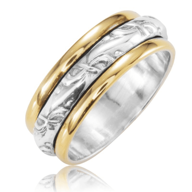 Silver & Gold Plated Ring Sparkles as it Spins