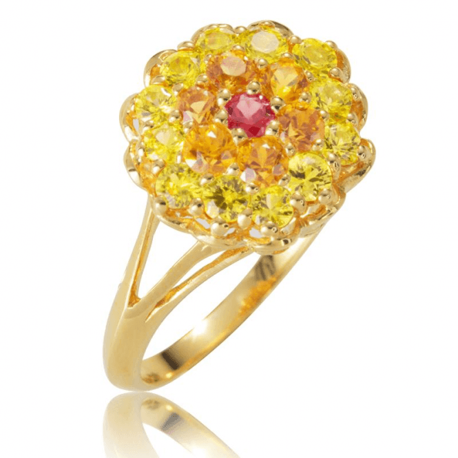 Ladies Shipton and Co Exclusive 9ct Yellow Gold and 1.5ct Sapphire Cluster Ring RYG065FS