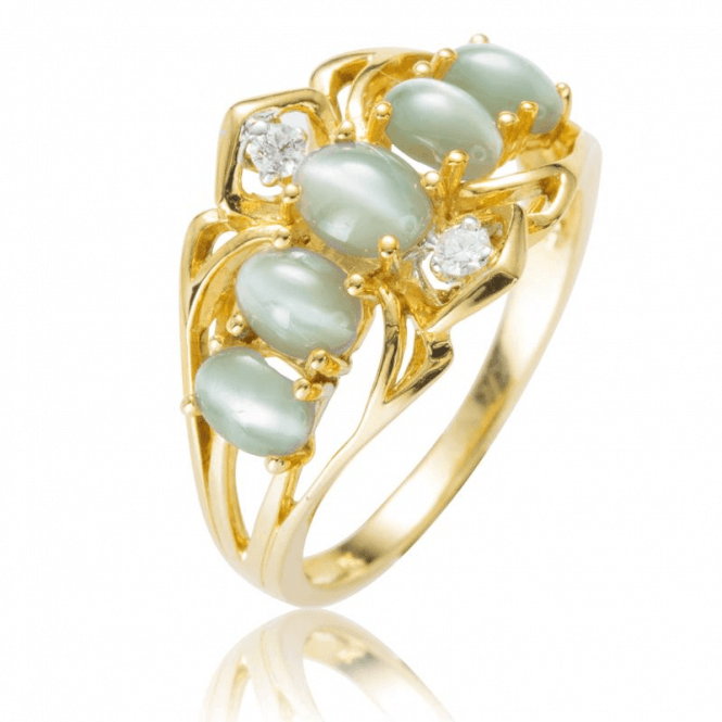 Shipton and Co Ladies Shipton and Co Exclusive 9ct Yellow Gold Diamond and Cat's Eye Ring RYD136CED