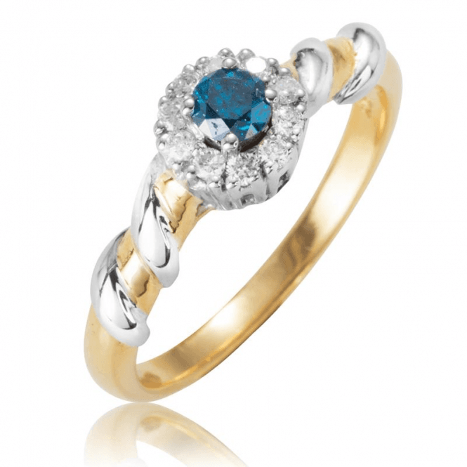 Ladies Shipton and Co Exclusive 9ct Yellow Gold and Blue Diamond Halo Ring RYD137DI