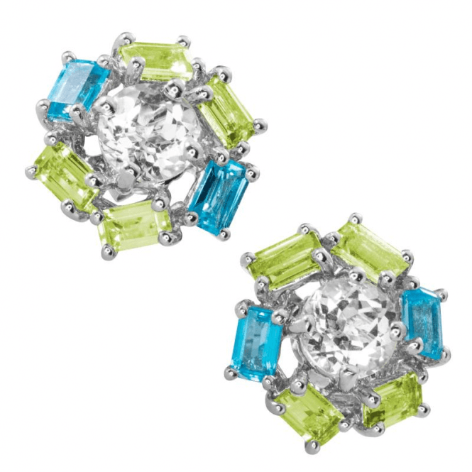 Intriguing Geometry of Peridot & Blue Topaz