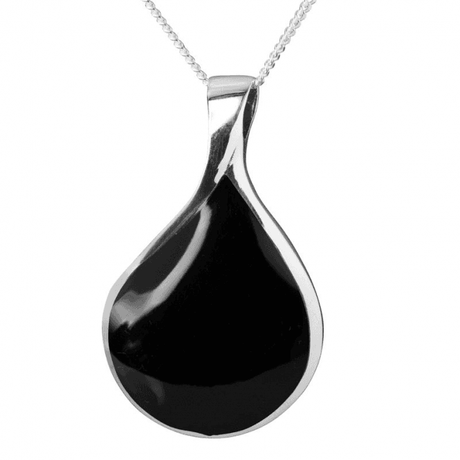 Ladies Shipton and Co Silver and Onyx Pendant including a 16 Silver Chain TDA189ON