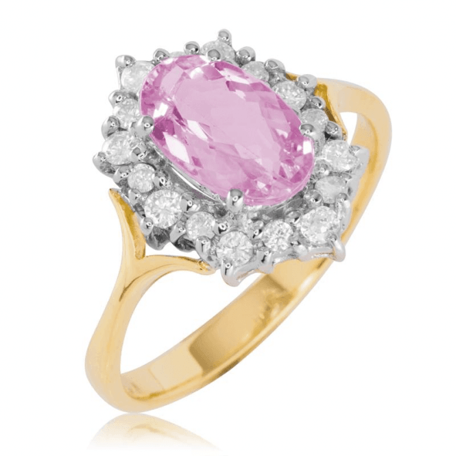 Ladies Shipton and Co Exclusive 18ct Yellow Gold 0.33ct Diamond and 1.45ct Pink Topaz Ring S08805PKD