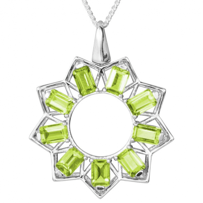 Bright Star Pendant with 5cts of Emerald- Cut Peridot