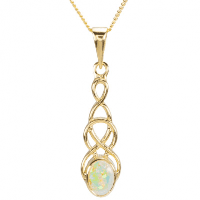 Ladies Shipton and Co 9ct Yellow Gold and Opal Drop Pendant including a 16 9ct Chain PY1866OP
