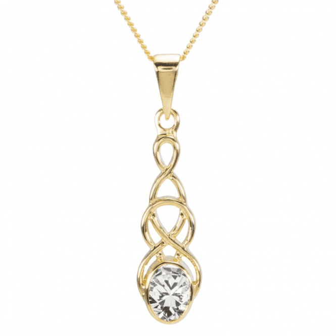 Shipton and Co Ladies Shipton and Co 9ct Yellow Gold and Cubic Zirconia Drop Pendant including a 16 9ct Chain PY1866CZ