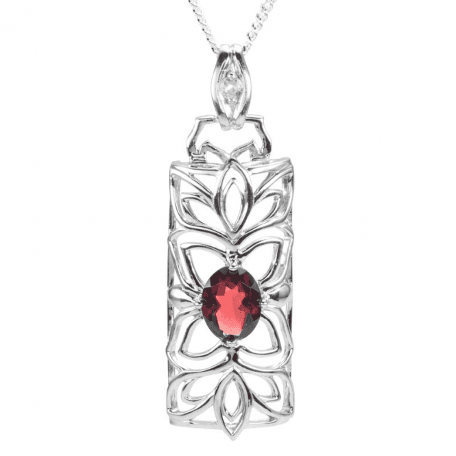 Shipton and Co Ladies Shipton and Co Exclusive Silver and Garnet and White Topaz Pendant including a 16 Silver Chain PQA553GRWT