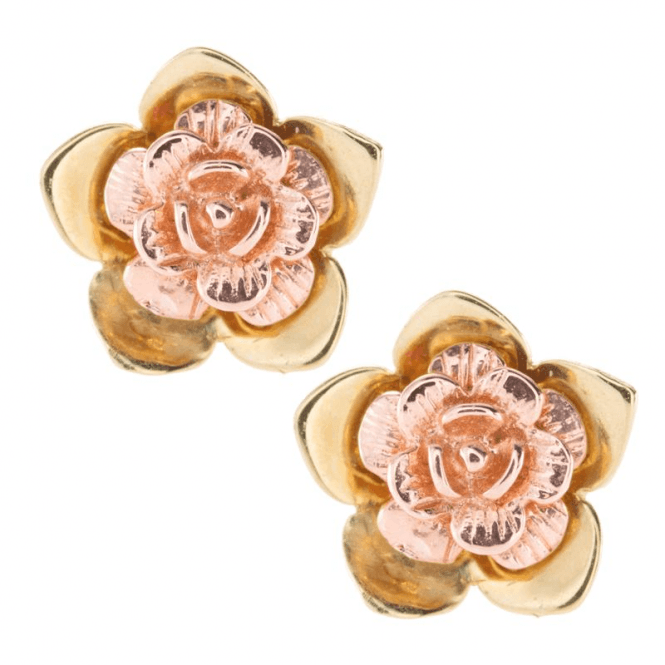 Petite Flower Earrings in 9ct Rose & Yellow Gold