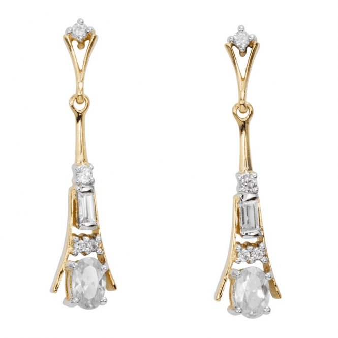 Shipton and Co Ladies Shipton and Co Exclusive 9ct Yellow Gold and 1.8ct Zircon Drop Earrings EYG067ZR