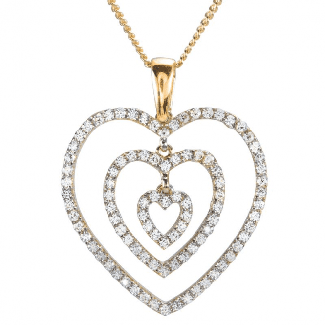 Shipton and Co Ladies Shipton and Co 9ct Yellow Gold and Cubic Zirconia Hearts Pendant including a 16 9ct Chain TEM071CZ