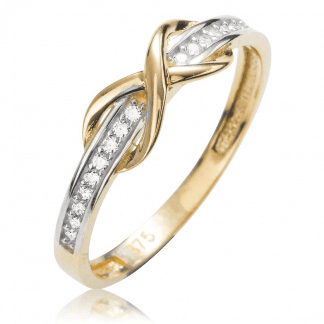 Ladies Shipton and Co 9ct Yellow Gold and Cubic Zirconia Half Eternity Ring TEM073CZ