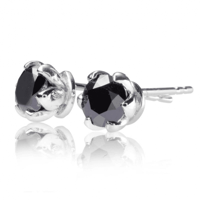 One Carat Diamond Earrings in White Gold