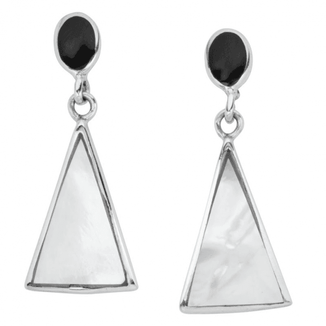 Ladies Shipton and Co Silver and Mother of Pearl and Onyx Earrings TDA191PMON