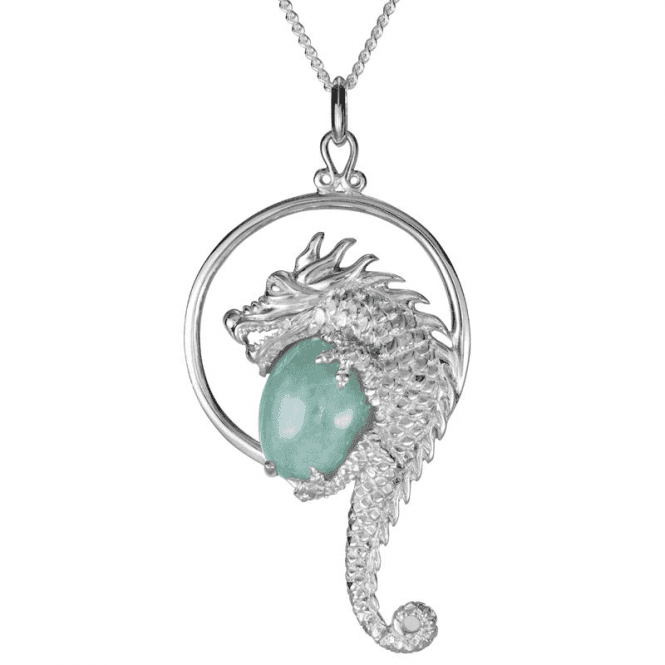 Wisdom Dragon in Intricately Sculptured Silver with 7cts of Jade