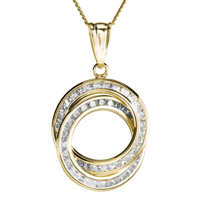 Ladies Shipton and Co 9ct Yellow Gold and Cubic Zirconia Circles Pendant including a 16 9ct Chain TAR619CZ
