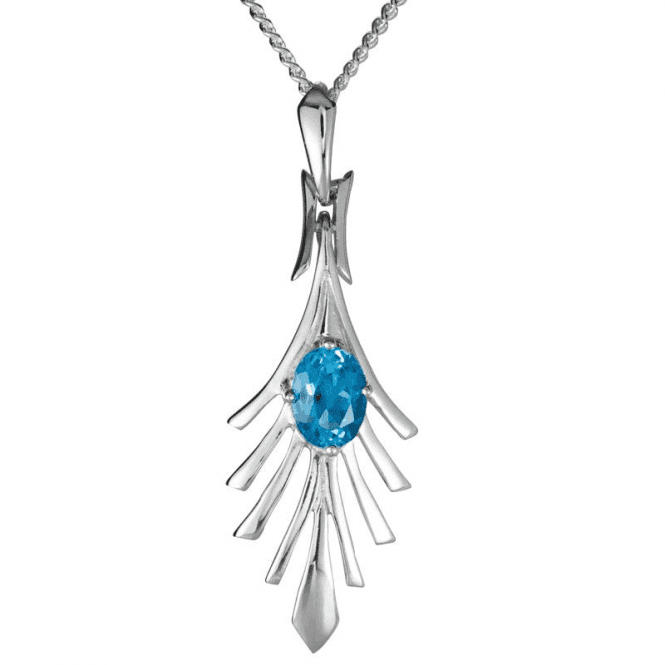 Ladies Shipton and Co 9ct White Gold and 0.75ct Blue Topaz Pendant including a 16 White Gold Chain PWG074BT