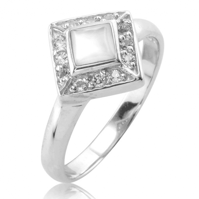 White Topaz Ring Framing Mother of Pearl