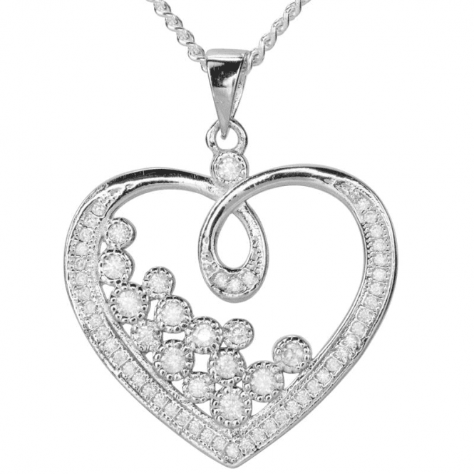 Ladies Shipton and Co Silver and Cubic Zirconia Heart Pendant including a 16 Silver Chain TAO027CZ