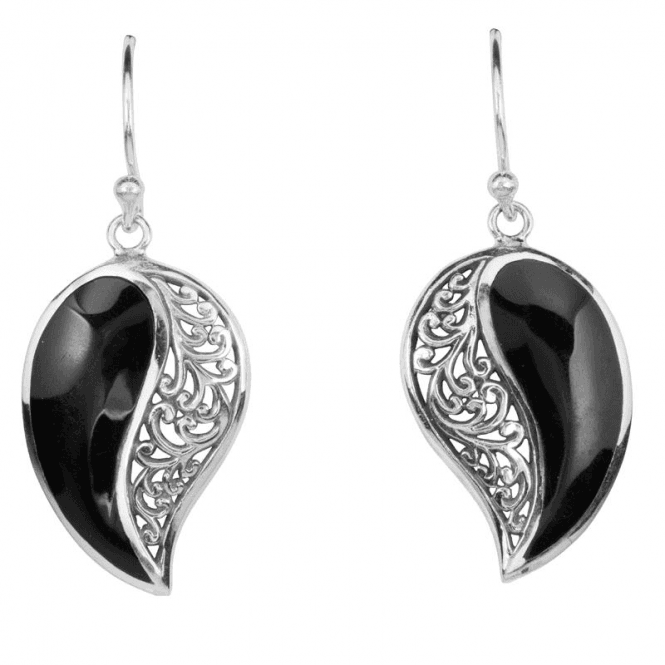 Onyx Set with Paisley Silver Filigree