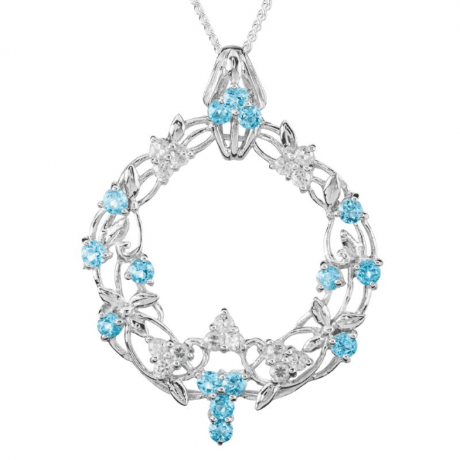 Shipton and Co Ladies Shipton and Co Exclusive Silver and Blue Topaz Pendant including a 16 Silver Chain PQA566BTWT