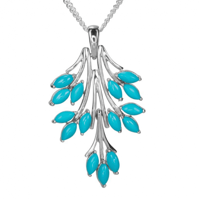 "Ladies Shipton and Co Exclusive Silver and Turquoise Pendant including a 16"" Silver Chain PQA567TQ"
