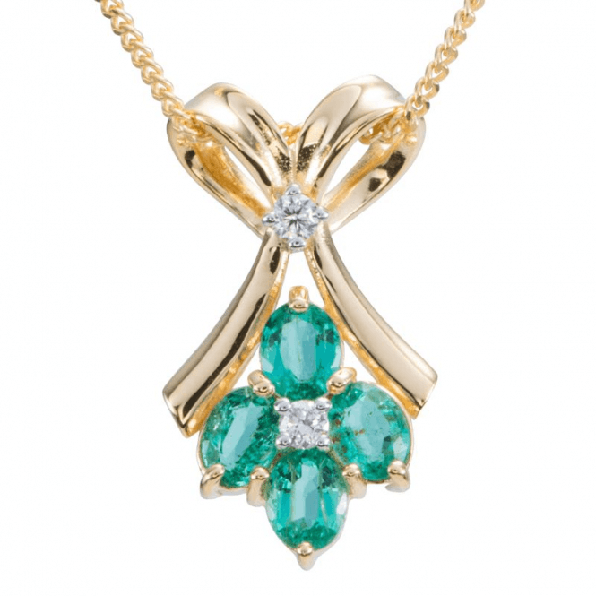 Ladies Shipton and Co 9ct Yellow Gold and Emerald Pendant including a 16 9ct Chain PYD141EMD
