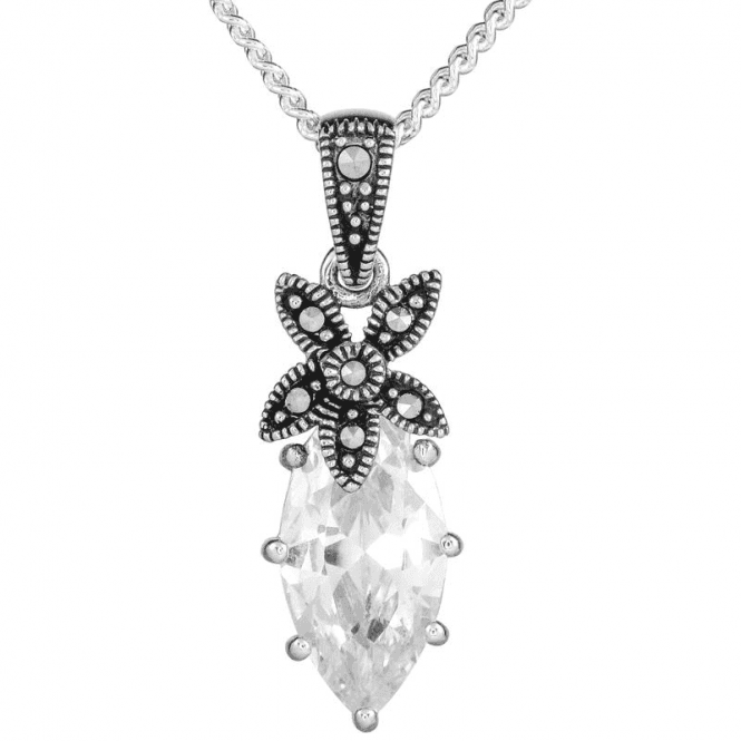 "Ladies Shipton and Co Silver and Cubic Zirconia Pendant including a 16"" Silver Chain TSV045CZMM"