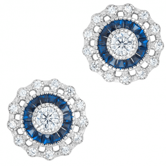 1ct of Created Blue Sapphire in Statement Cluster Earrings