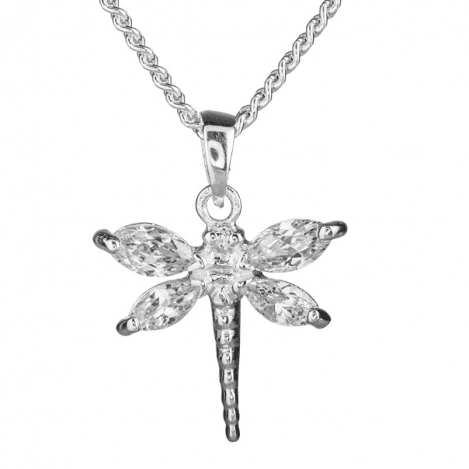 Ladies Shipton and Co Silver and Cubic Zirconia Dragonfly Pendant including a 16 Silver Chain TFE182CZ