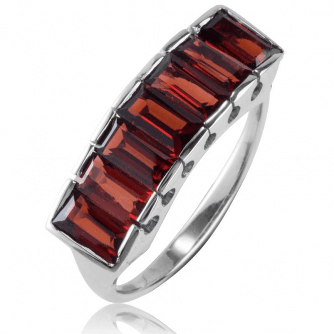 Ladies Shipton and Co Silver and 3.5ct Garnet Half Eternity Ring RQA556GR
