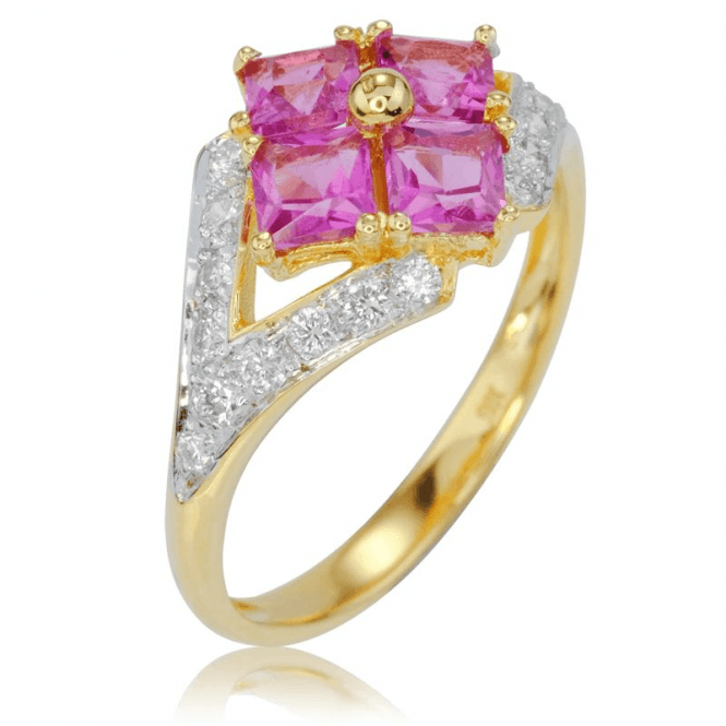 Over 2cts Cantabile Ring of Pink Tourmaline & Diamonds