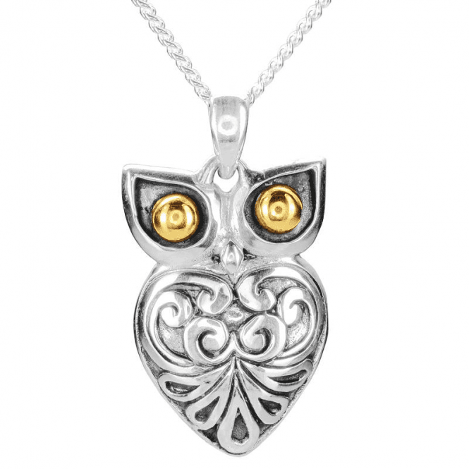 Silver Owl Pendant with Gold Eyes