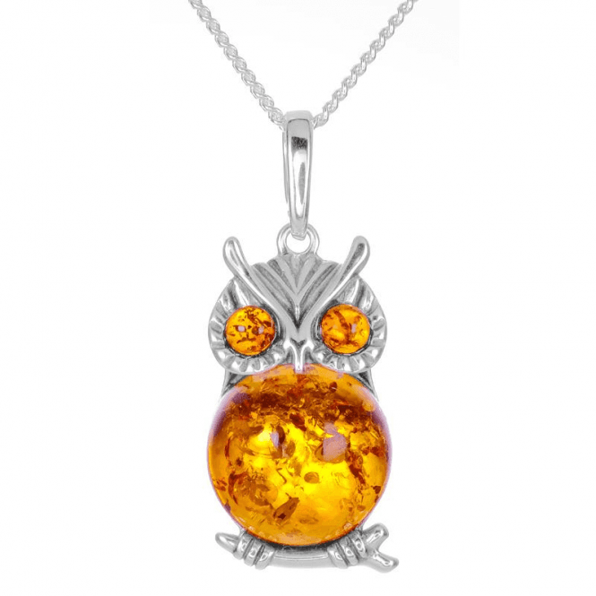 Ladies Shipton and Co Silver and Amber Owl Pendant TFE242AB