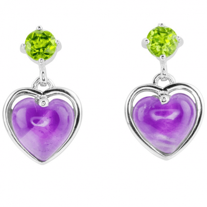 Starry Heart Earrings with Amethyst & Peridot