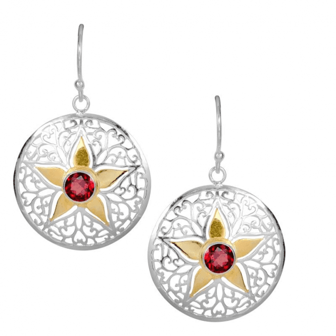 Flower Earrings with Solid Gold Inlay
