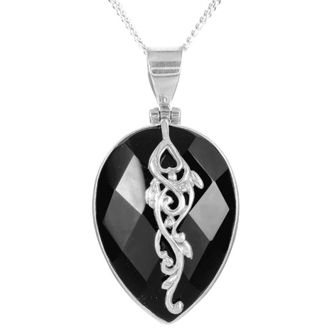 Ladies Shipton and Co Silver and Onyx Pendant including a 16 Silver Chain TSS260ON